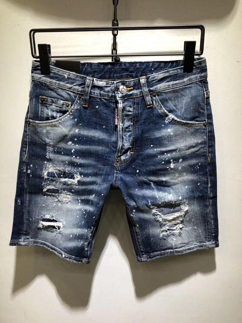 2019 summer Style famous brand men   Shorts   jeans luxury Men denim trousers zipper Patchwork Slim blue hole   Shorts   jeans for men