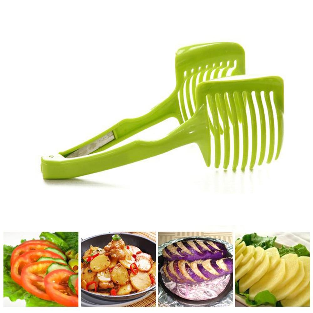 Multifunctional Plastic Potato Slicer Fruit Vegetable Cutter Lemon Onion Tomato Cutting Holder Kitchen Gadgets(Random Color)