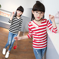 2017 new girl t-shirt red black white striped baby big girls tees tops long sleeve v neck kids t shirts spring autumn clothes