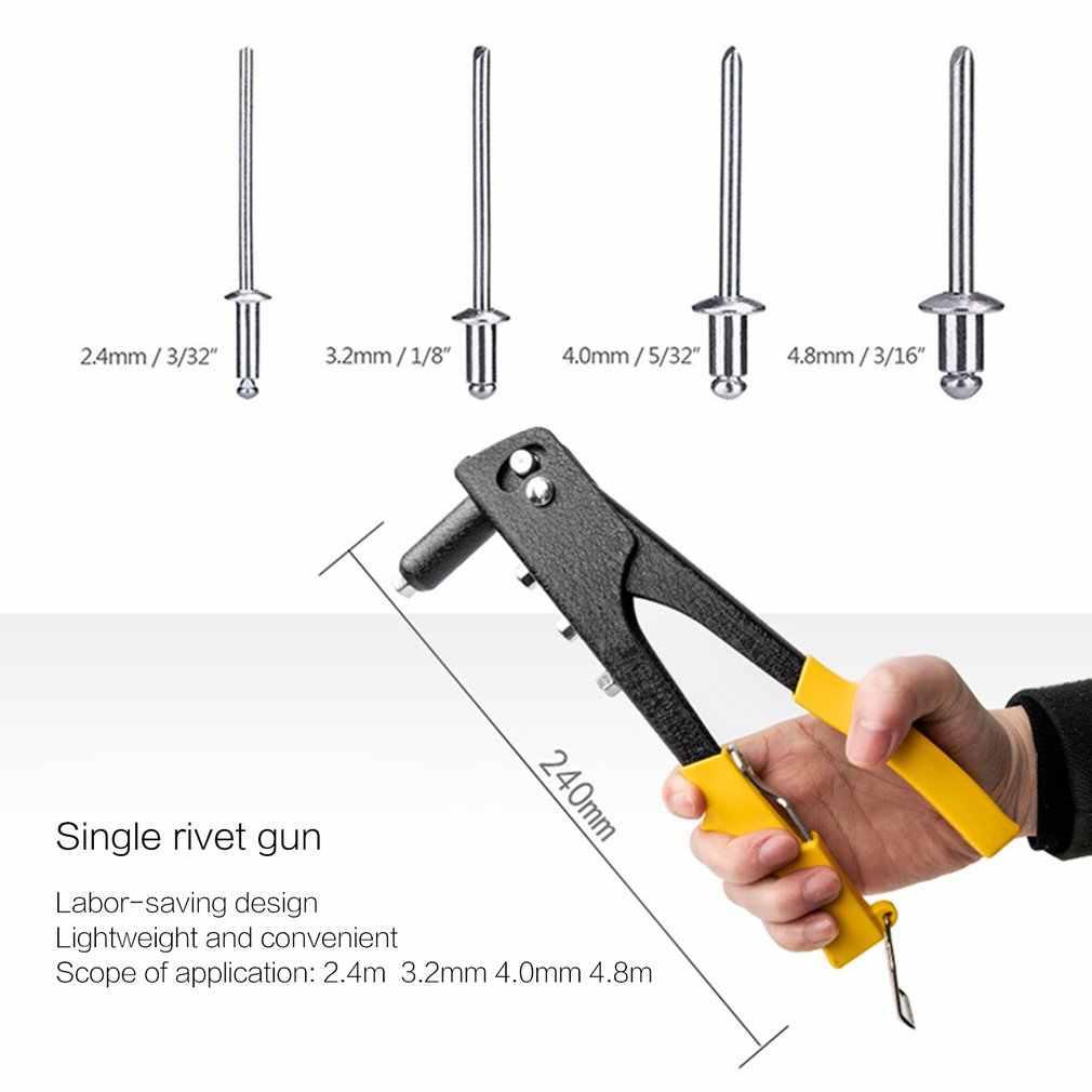 Нержавеющая сталь ручная Одиночная ручка-заклепка пистолет 4 головки сопла поп слепой клепальщик набор для мастерской/тяжелых инструментов Ремонт