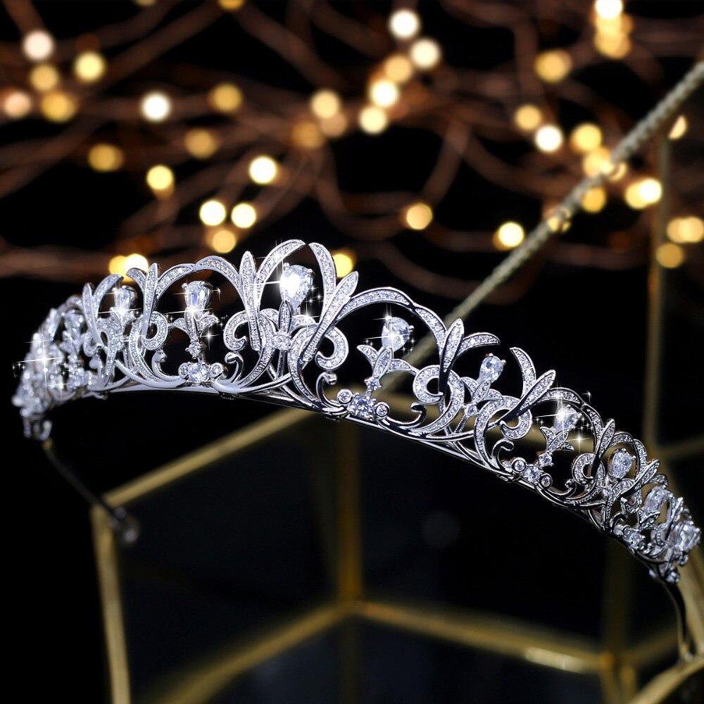 Noble Zircon Beauté Princesse Diadème Cubique Zircon De Mariée Mariage Tiare Couronne Strass Pageant Couronne Pour Les Mariées Bandeaux