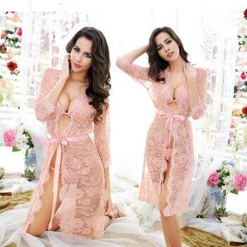 Jeden Zestaw Pani Romantyczna Pełna Lace Mesh Koszula Nocna Hollow Out Połowa Przezroczysty Floral Koszule Nocne Sexy Midnight Zrazy Bliscy Detaliczna