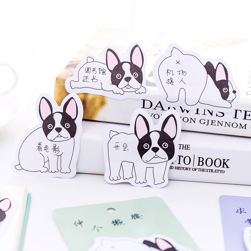 2Pcs Dog Emoji Cute Stickers Cartoon Kawaii Memo Pad Stationery Store Post it Sticky Note Notepad Animal Lovely Office Accessory