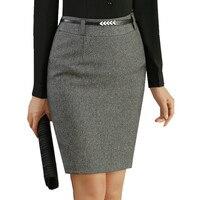 Fmasuth גבירותיי חצאית רשמית עבור נשים סתיו החורף התיכון מותן היפ חבילת מיני מוצק משרד עבודת חצאית SL0906