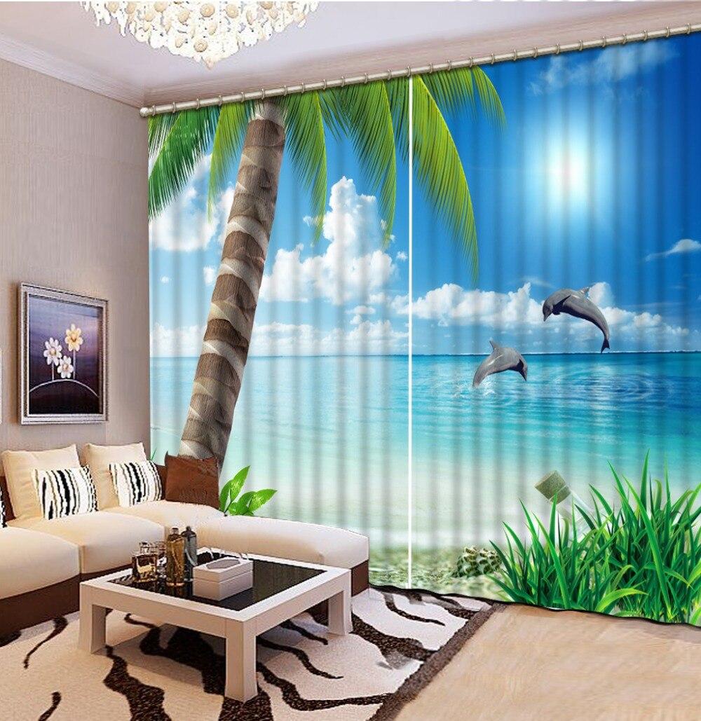 Wohnkultur wohnzimmer natürliche art moderne strand großen baum 3d fenster vorhänge für bettwäsche zimmer