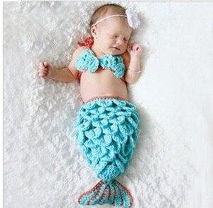 Милая детская одежда для фотосессии с русалочкой для маленьких девочек от 0 до 6 месяцев бюстгальтер-бини спальный мешок для малышей, реквиз...