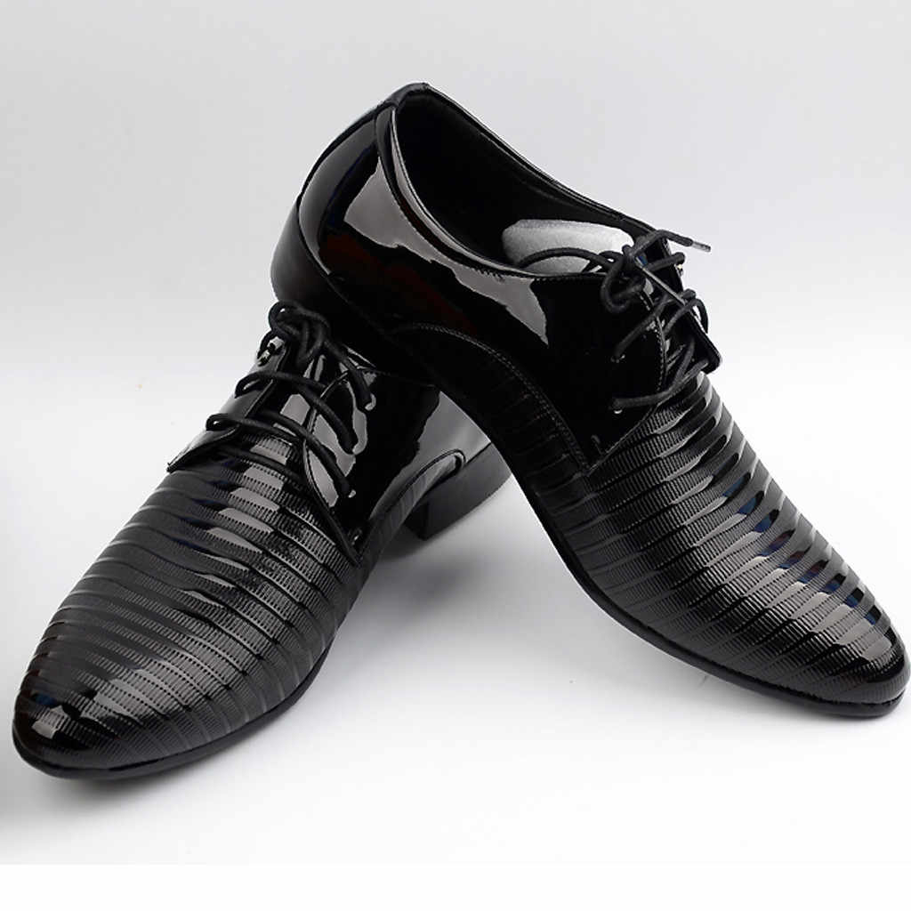ONTO-MATO Merk PU Leer Mode Mannen Business Jurk Loafers Puntige Zwarte Schoenen Oxford Ademend Formele Bruiloft Schoenen