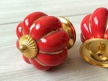 Red Gold Cabinet Knobs Pumpkin Knobs Kitchen Dresser Knob Drawer Knobs  Handles Ceramic Porcelain Pumpkins Decorative Hardware