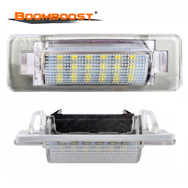 For Mercedes Benz W210 4D Sedan <font><b>W202</b></font> 4D Sedan Facelif High Power Error Free 18 SMD 3528 SMD <font><b>LED</b></font> 2 pcs License Plate Light Lamp image