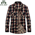 New AFS JEEP Brand Shirt Plaid Shirts Casual Men Shirt 100% Cotton Chemise Homme Camisa Masculina Camisas Plus Size 3XL 1677#