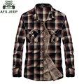 Nueva afs jeep marca camisa camisas a cuadros informal camisa de los hombres 100% Chemise Homme camisa masculina Camisas de Algodón Más El Tamaño 3XL 1677 #