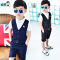 2016 New Children Suit Baby Boys Suits Kids Boys Formal Suit Boys Clothes Set KidsShort Sleeve T Shirt Vest+Pants 2pcs 3-10Y