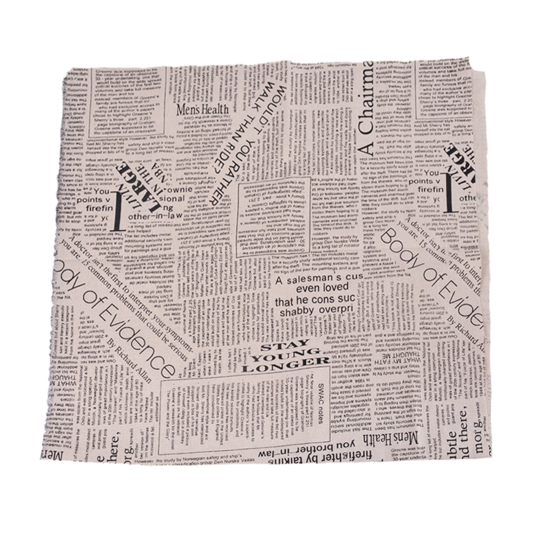 1PC BD Newspaper Linen Cotton Fabric Patchwork DIY Sewing Fabric 97x50cm
