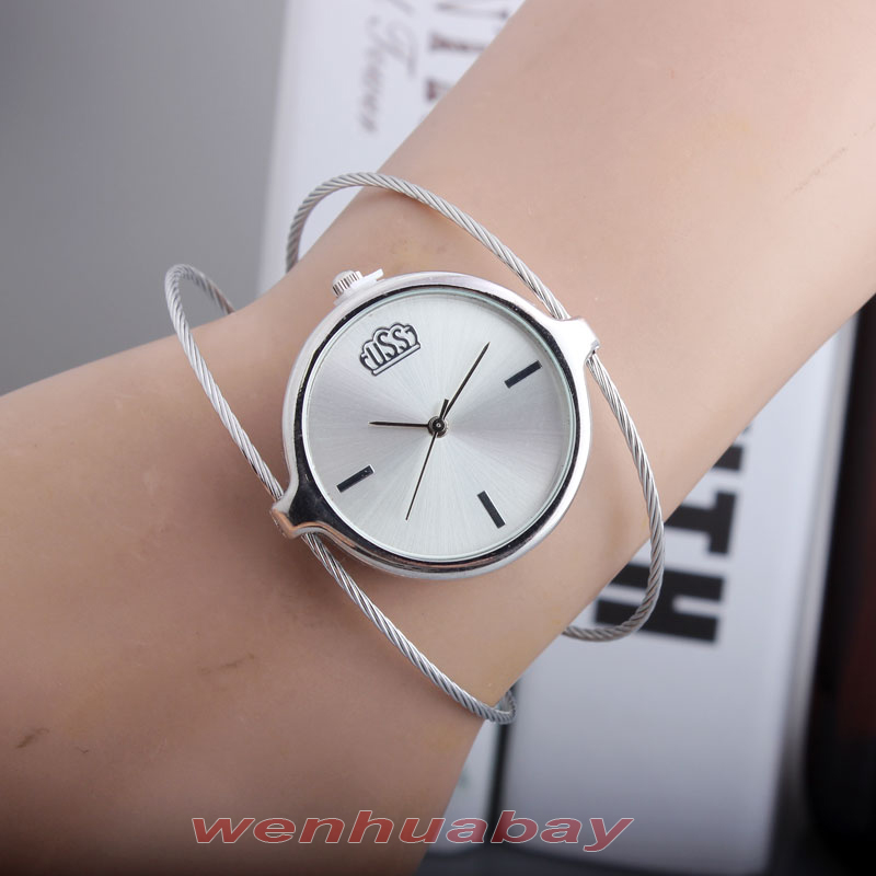 Charm Women Lady Girl Silver Steel Wire Round Dial HouAnalog Quartz Bracelet Bangle Wrist Watch Top Quality Best Gift B6970 ...