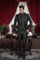 Новый стиль черный, серебристый цвет СЕРЫЙ Вышивка жениха Смокинги для женихов Для мужчин свадебные костюмы для выпускного Жених (куртка + Б