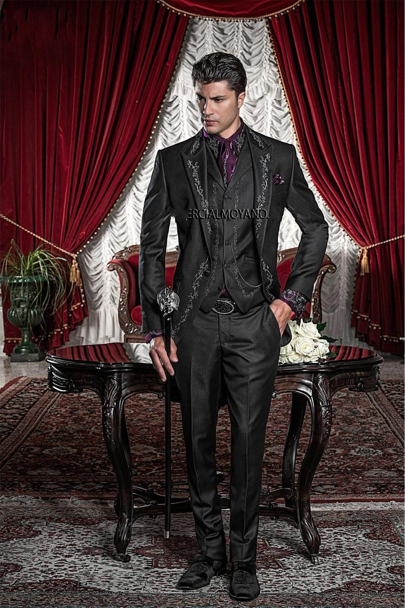 New Style Black Silver Gray Embroidery Groom Tuxedos Groomsmen Men's Wedding Prom Suits Bridegroom (Jacket+Pants+Vest) K:594
