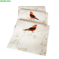 Fashion Embroidery Birds flowers and plants Double deck cotton table runner American pastoral rainbow stripes Style Table flag