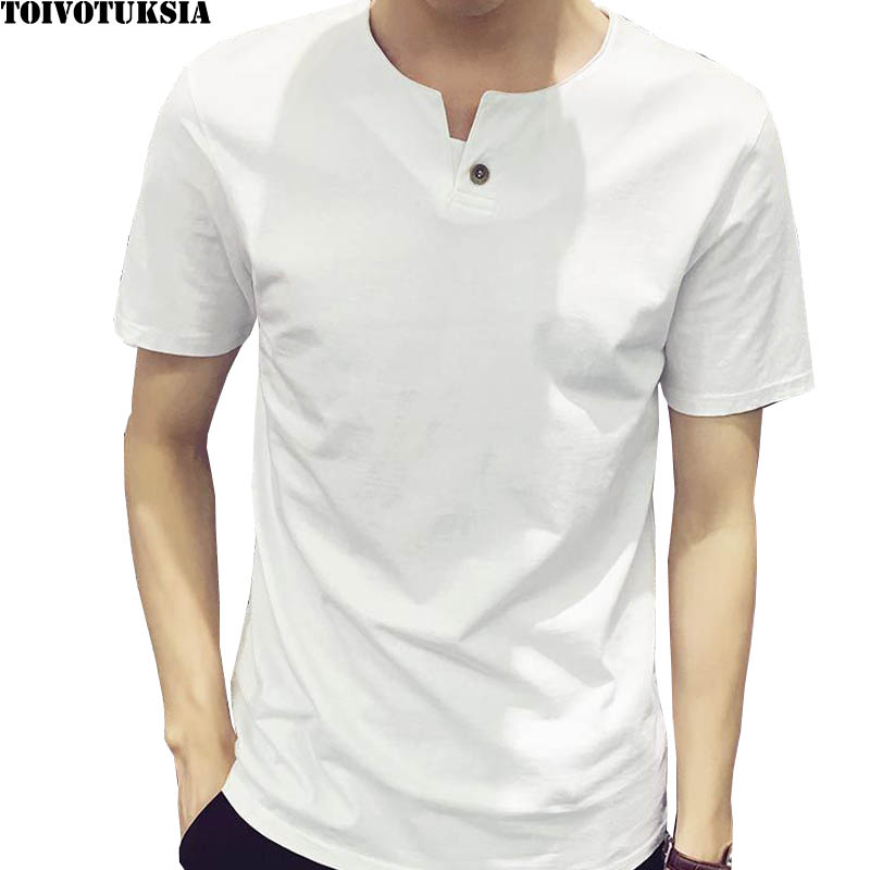TOIVOTUKSIA Brand Clothing Full Cotton V neck with button Men T Shirt Mens Fashion Tshirt Casual Male T shirt M 4XL in T Shirts from Men 39 s Clothing