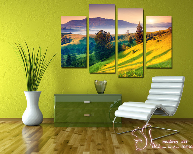 4 Panels Wall Art Pictures No Frame More Beauty Scenery Of Mountain ...