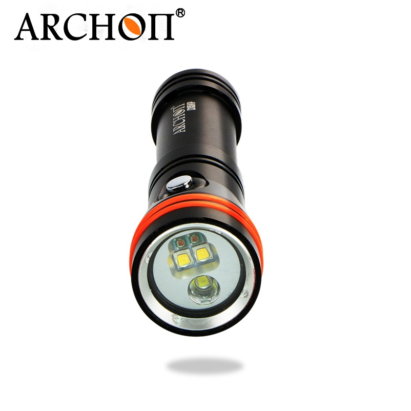ARCHON D15VP Diving Flashlight Diving Light White/Red 3pcs CREE XM-L2 U2 1300 lumens 110 /30 degree by 18650 Battry archon dh25 wh31 1000 lumens cree xm l u2 canister snorkeling scuba diving light