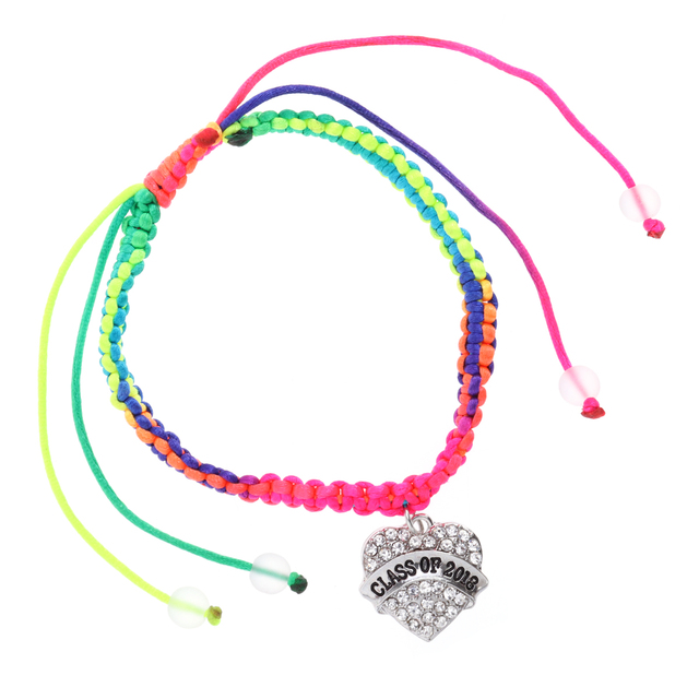 Pixnor Colorful Rope Knitted Bracelet With Cl Of 2018 Letter Charms Bracelets For Graduation Ceremony Party
