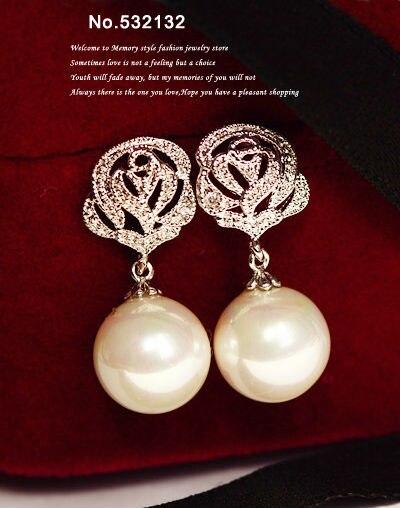 1c4b59794 Drążenia Rose Flower Kryształ Betonowa Kamień Biały Różowy Pearl Spadek  Kolczyki Białe Złoto Kolor Glamour Kobiety Biżuteria