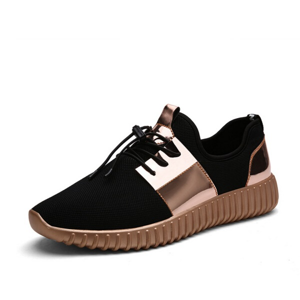 Fashion Air Mesh Glossy Gold women Casual Shoes Summer Breathable Lovers Outdoor Lace-Up Walking Shoes  fashion designer famous brand air mesh glossy men casual shoes summer outdoor breathable durable lace up unisex fashion shoes