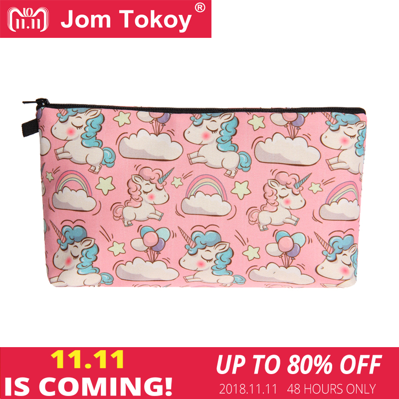Jom Tokoy 2018 New fashion cosmetic organizer bag unicorn 3D Printing Cosmetic Bag Fashion Women Brand makeup bag jom tokoy unicorn 3d printing cosmetic bag women makeup bag 2017 fashion cosmetic cares trousse de maquillage neceser