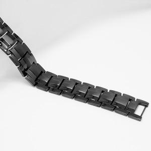 Image 3 - Escalus 男性の黒純チタン磁気ブレスレット男性のための 4in1 マグネットマイナスイオンゲルマニウム健康ブレスレットジュエリー