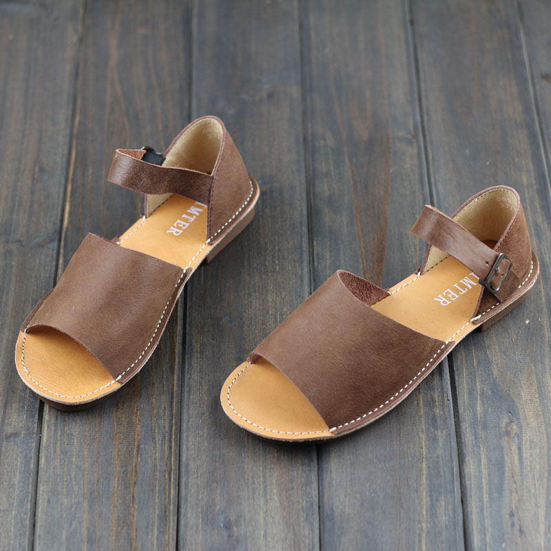 Women s Sandals Summer Shoes 100 Authentic Leather Ankle Strap Flat Sandals Female Footwear 6958 2