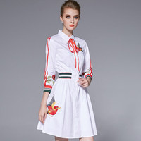 2017 Spring And Autumn Birds Embroidery White Dress Women High Waist Dress Preppy Style