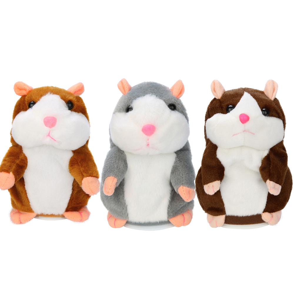 Talking Hamster Mouse Pet Plush Toy Hot Cute Speak Talking Sound Record Hamster Educational Toy for Children Gift Baby Doll