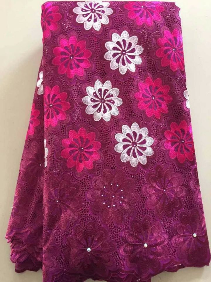 5 Yards/pc Beautiful flower embroidery design purple african cotton fabric swiss voile lace for clothes dressing L1-3