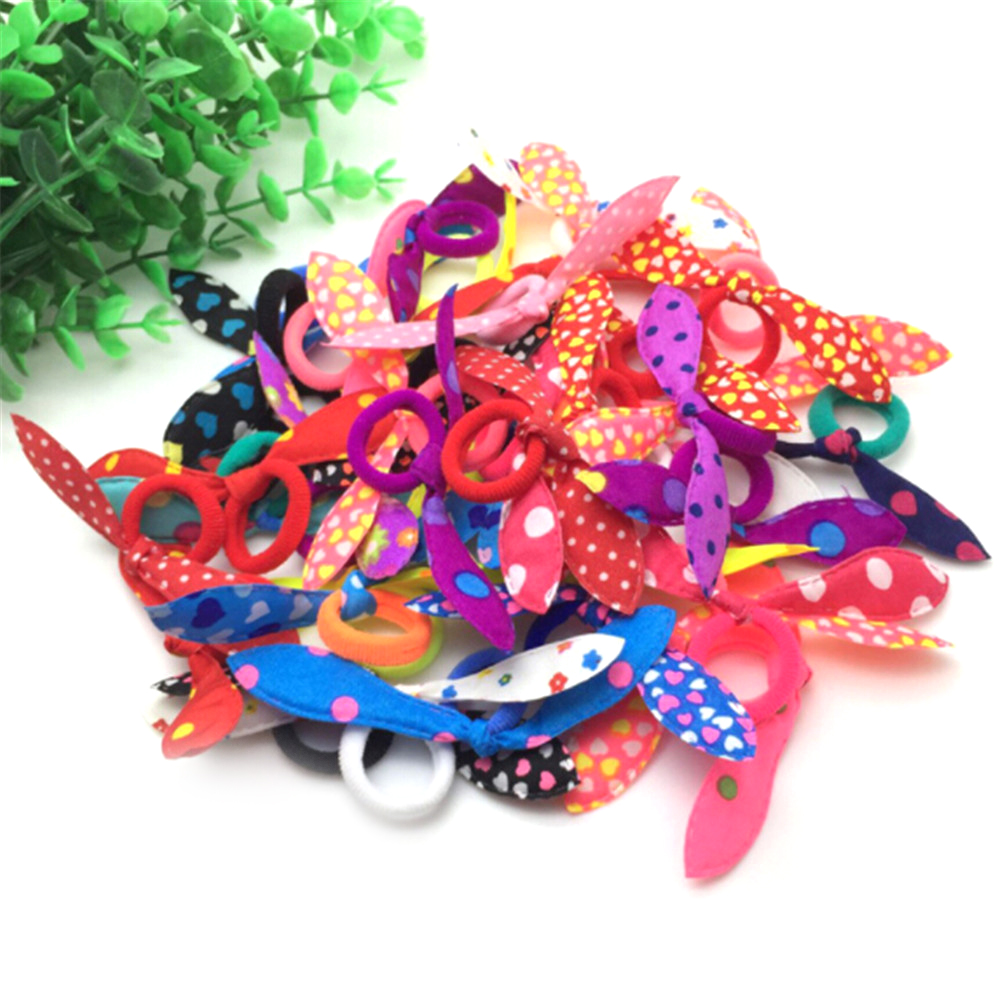 20pcs/lot Rabbit Ears Hair Band Children Kids Hair Accessories Scrunchies Elastic Hair Band For Women Girl Rubber Band