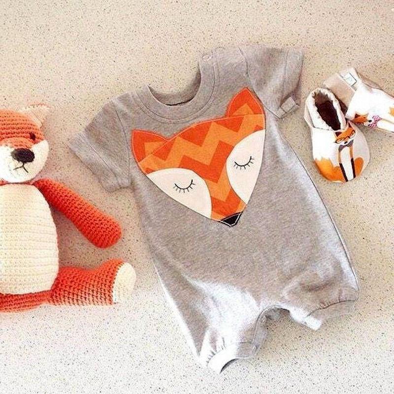 0 24M Baby Romper Clothes Cute Fox Print Short Sleeve