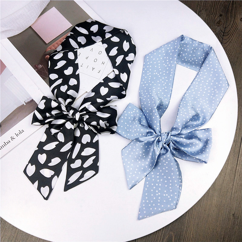 Women Handle Bag Wrist Hair Tie Multifunctional Printed Silk Feeling Neckerchief Skinny Narrow Thin Long Ribbon Silk Small Scarf