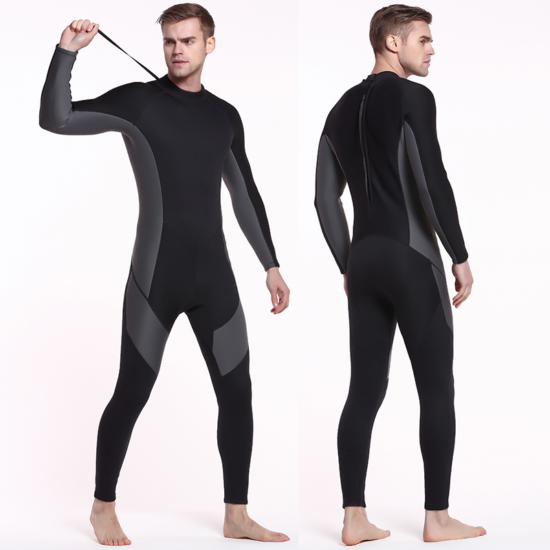 Wetsuit Men Full Suit, Long Sleeve Mens Wetsuit for Scuba Diving Surf Snorkeling, Neoprene Wet Suit Men in 3mm Black/Grey Youth neoprene 2mm men black long sleeve wetsuit jacket tops surf diving swim suit full zipper scuba snokling men bathing beach shirts