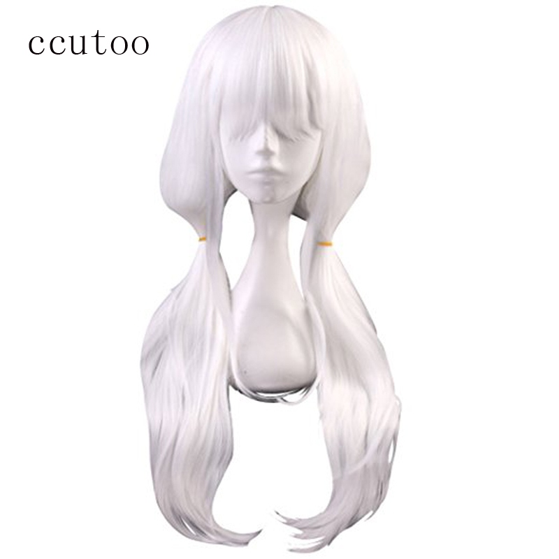 ccutoo 65cm White Curly Long Synthetic Wig Danganronpa V3 Angie Yonaga Anjii Cosplay Wig Heat Resistance Fiber