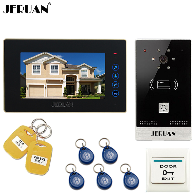JERUANNew 7 inch TFT Color Touch key Video Intercom Entry Door Phone System RFID Access Doorbell IR COMS Night Vision Camera jeruan new 7 inch touch key color video intercom entry door phone system rfid access doorbell camera 1 monitor in stock