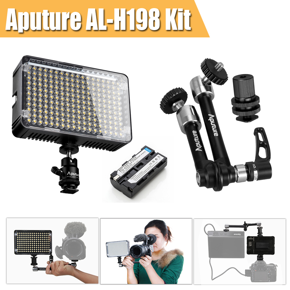 Aputure Amaran AL-198 CRI 95+ LED  Video Photo Light Lamp Kit For Camera + Battery Pack for Sony NP-F550 + Aputure Magic Arm new aputure amaran hr672w hr672c hr672s high cri led video light wireless remote control 3 light stand 3m p0019845