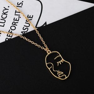 Fashion Abstract Human Face Pendant Necklace Women Gold/Silver Necklaces Pendants Trendy Temperament Long Necklace Chain(China)