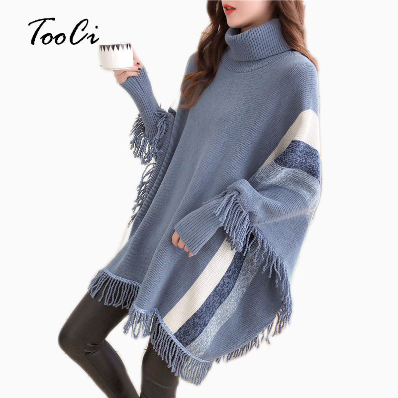 Womens Capes And Ponchoes 2019 Autumn Women Fashion Blue Tassel Pullovers Plus Size Women Knitted Sweater