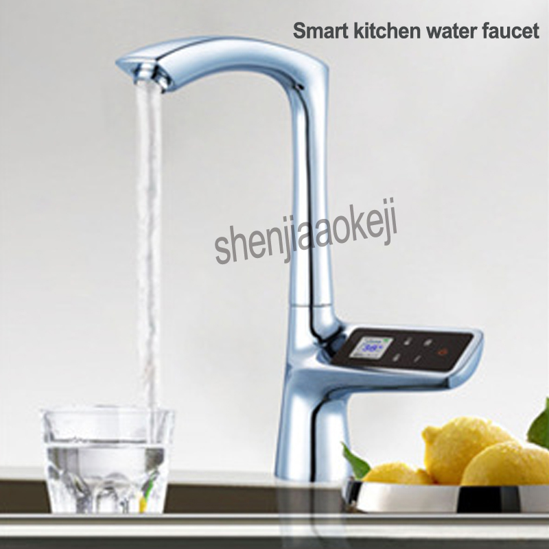 100 240V Smart Kitchen Faucet Single Hole LCD Display Touch Screen Thermostatic Bathroom Faucets Digital Water Tap 1PC