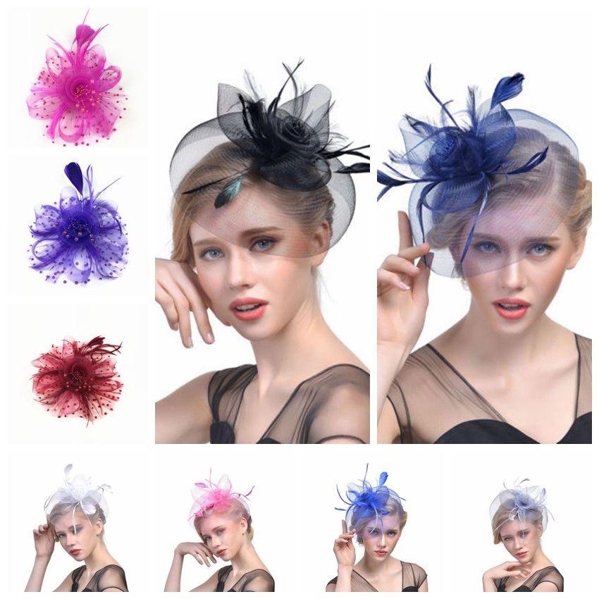 Beaded Feather Hair Fascinator Bunny Hair Clip Headband Mess Wedding Royal Races