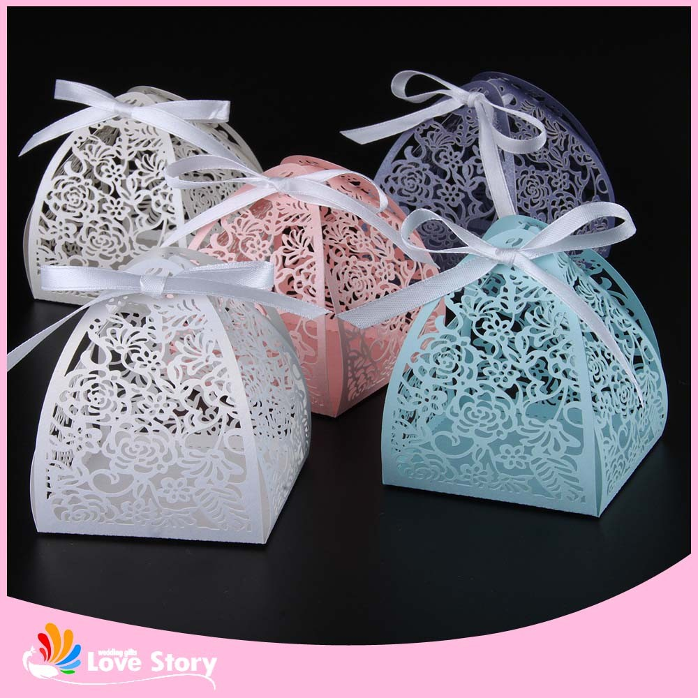 50pcs Rose Flower Laser Cutting Candy Box Wedding Favors