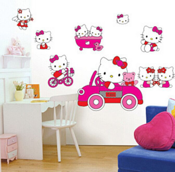 Free Shipping Hot 3D Paper Cartoon Cute Pink Hello Kitty Wall Sticker Decals Home Decoration Decor Living For Kids Rooms