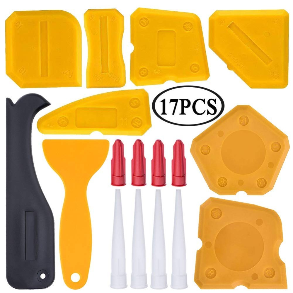 17 Pieces Caulking Tool Kit Silicone Sealant Finishing Tool Grout Scraper Caulk Remover And Caulk Nozzle And Caulk Caps