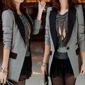 2017 das Mulheres do Outono Inverno Lazer moda Jaqueta Nova Gola Terno Fino Longo-sleeved Longo Blazer Paletó blazer feminino