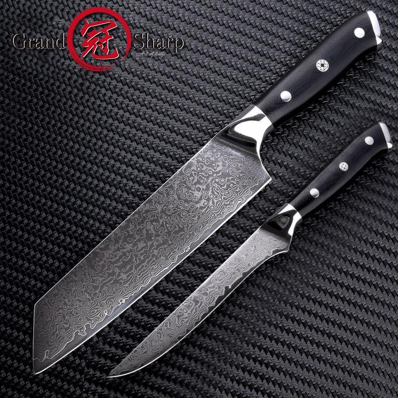 Grandsharp 2 Pcs Kitchen Knife Set 67 Layer VG10 Japanese Damascus Steel Kitchen Knives Kiritsuke Boning Chef's Knives Cooking-in Knife Sets from Home & Garden    1