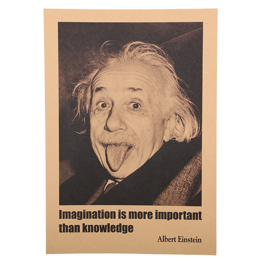 1 Pcs 51x35 5cm Inspirational Albert Einstein Posters Home Decoration Wall Stickers Imagination Is More